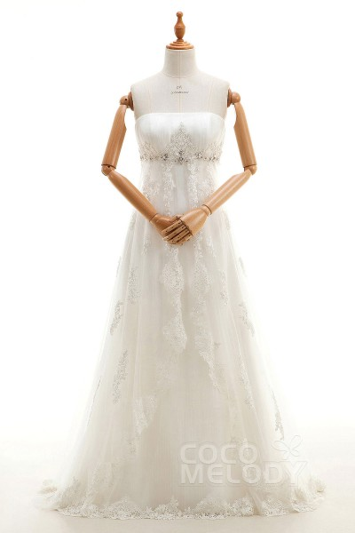 Impressive Sheath-Column Strapless Empire Sweep-Brush Train Tulle and Lace Ivory Sleeveless Zipper Wedding Dress with Appliques and Beading H1OTLT0006