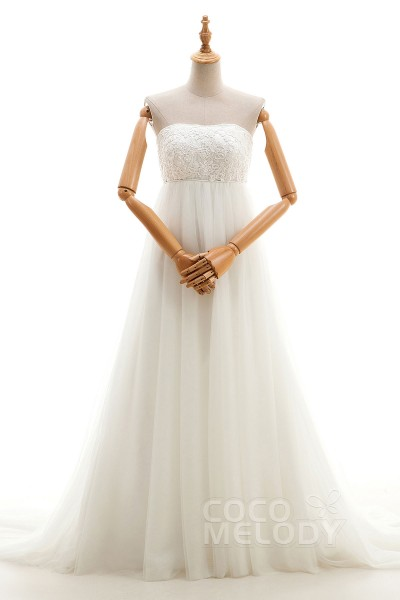 Fantastic A-Line Strapless Empire Sweep-Brush Train Tulle and Lace Ivory Sleeveless Zipper Wedding Dresses with Appliques and Beading H3lblb1202