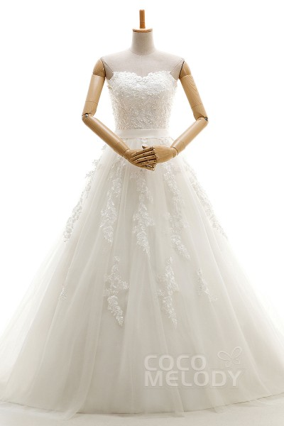 New Design A-Line Sweetheart Natural Court Train Tulle Ivory Sleeveless Lace Up-Corset Wedding Dress Appliques Ribbons HS7916