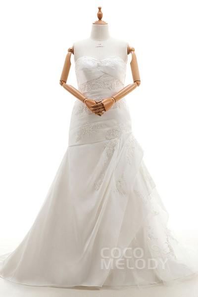Trendy Trumpet-Mermaid Sweetheart Natural Court Train Taffeta Ivory Sleeveless Lace Up-Corset Plus Size Wedding Dress Appliques Pleating HS9990