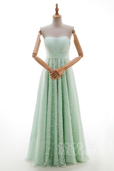 Perfect Sheath-Column Sweetheart Natural Floor Length Lace Sleeveless Lace Up-Corset Bridesmaid Dress with Sashes JWLF14003