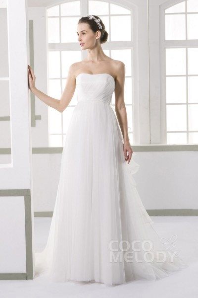 Perfect Sheath-Column Sweetheart Natural Court Train Tulle Ivory Sleeveless Lace Up-Corset Wedding Dress with Beading Sashes Pleating and Removable Train JWLF15005