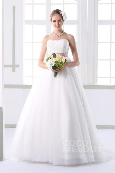 Modest A-line Sweetheart Natural Court Train Tulle Ivory Sleeveless Lace Up-Corset Wedding Dress with Appliques and Sashes JWLT1500F
