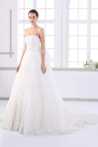 Pretty A-line Strapless Natural Court Train Tulle and Lace Ivory Sleeveless Lace Up-Corset Wedding Dress with Appliques and Beading JWLT15016