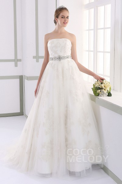 Perfect A-line Strapless Natural Court Train Tulle and Lace Ivory Sleeveless Lace Up-Corset Wedding Dress with Appliques and Sashes JWLT15019