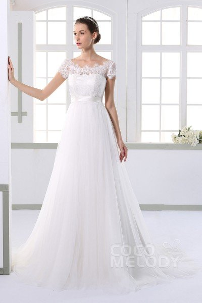 Timeless Sheath-Column Illusion Natural Court Train Tulle and Lace Ivory Cap Sleeve Zipper With Buttons Wedding Dress with Appliques and Sashes JWXT15052