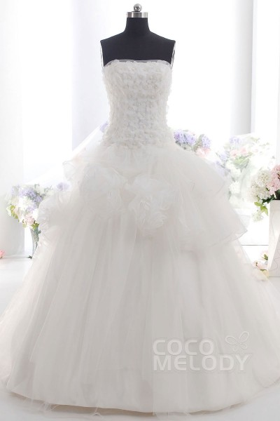 lovely ball gown strapless train tulle ivory sleeveless lace up corset wedding dress with flower