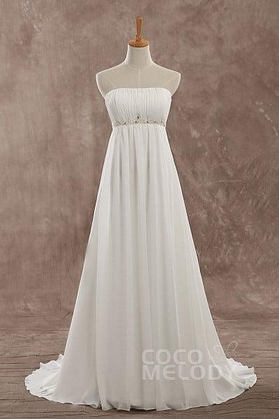 Classic A-Line Strapless Natural Sweep-Brush Train Chiffon Ivory Sleeveless Lace Up-Corset Wedding Dress Beading LD0645