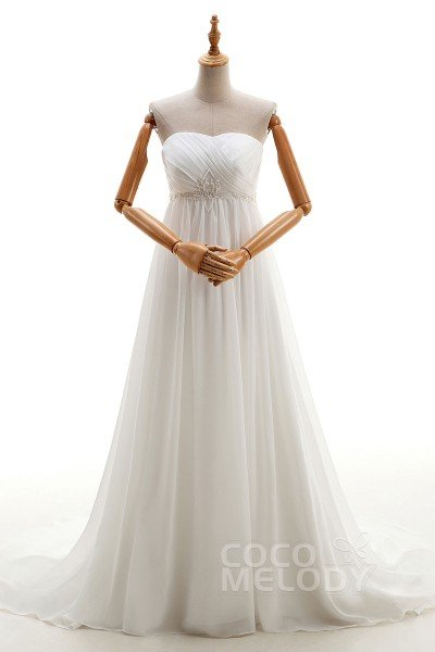 Le Sheath Column Sweetheart Empire Court Train Chiffon Ivory Sleeveless Lace Up Corset Wedding
