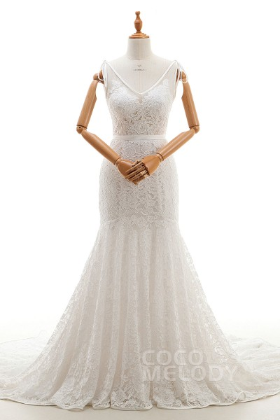 Glamour Trumpet-Mermaid V-Neck Natural Court Train Tulle and Lace Ivory Sleeveless Zipper Wedding Dresses with Appliques and Sashes LD2774