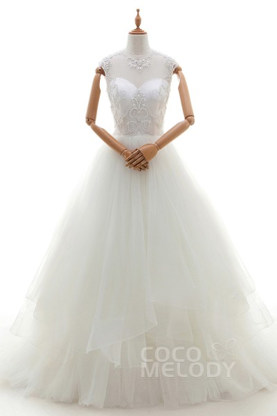 Graceful A-Line Illusion Natural Court Train Tulle Ivory Cap Sleeve Zipper With Buttons Wedding Dress with Beading and Embroidery LD3257