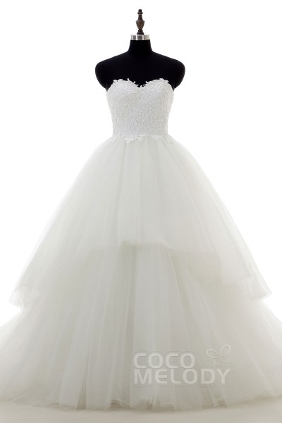 Unique A-Line Sweetheart Train Tulle Ivory Zipper With Buttons Wedding Dress with Appliques LD3835