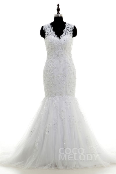 Pretty Trumpet-Mermaid V-Neck Dropped Court Train Tulle and Lace Ivory Sleeveless Open Back Wedding Dress with Appliques and Beading LD3864