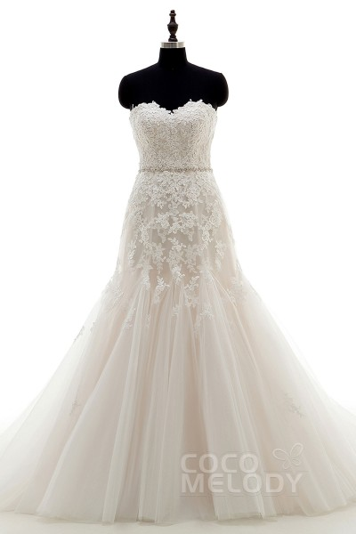 Sweet Sweetheart Natural Court Train Tulle Ivory/Champagne Sleeveless Lace Up-Corset Wedding Dress Appliques LD3943