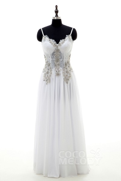 Trendy Sheath-Column Spaghetti Strap Natural Floor Length Chiffon White Sleeveless Open Back Wedding Dress Beading Draped LD3966