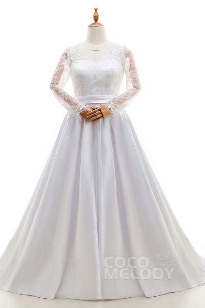 Modern A-Line Illusion Natural Court Train Lace and Satin Ivory Long Sleeve Zipper With Buttons Wedding Dresses with Appliques and Sashes LD4032