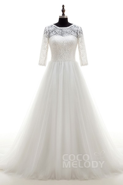 Dramatic A-Line Illusion Natural Chapel Train Tulle Ivory 3/4 Length Sleeve Zipper With Buttons Wedding Dress LD4064