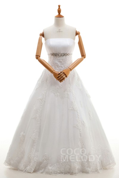 Fashion A-Line Strapless Natural Floor Length Tulle and Lace Ivory Sleeveless Lace Up-Corset Wedding Dresses with Appliques and Beading LD4110