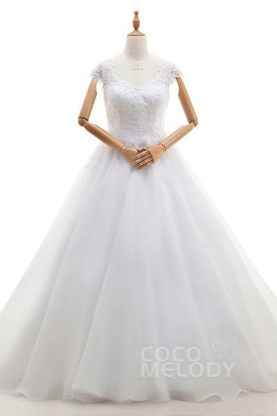Elegant A-Line V-Neck Natural Court Train Lace and Organza Ivory Cap Sleeve Zipper Wedding Dress with Appliques LD4126