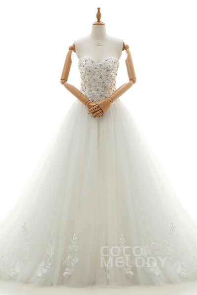 Elegant A-Line Sweetheart Natural Chapel Train Tulle and Satin Ivory Sleeveless Lace Up-Corset Wedding Dress with Appliques and Beading LD4168