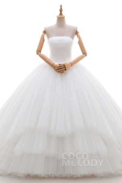 Eye-Catching Ball Gown Strapless Natural Cathedral Train Tulle Ivory Sleeveless Lace Up-Corset Wedding Dress with Beading and Pleating LD4206