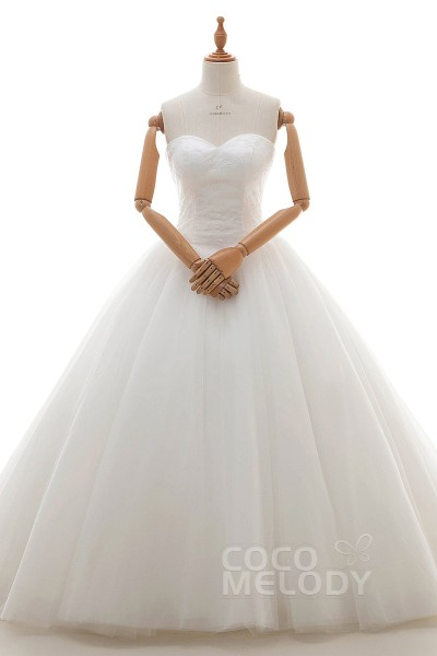 Cocomelody princess ball gown wedding dresses latest princess sweetheart natural court train tulle and lace ivory sleeveless lace up corset wedding junglespirit Image collections