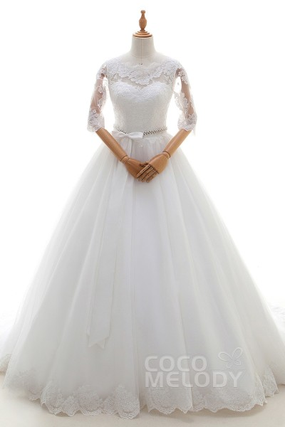 Modern A-Line Illusion Natural Court Train Tulle and Lace Ivory Half Sleeve Zipper With Buttons Wedding Dress with Appliques Beading and Sashes LD4261