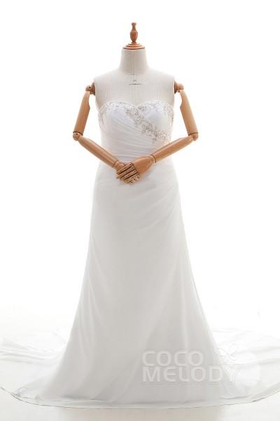 Latest Sheath-Column Sweetheart Natural Court Train Chiffon Light Ivory Sleeveless Lace Up-Corset Wedding Dress with Beading Embroidery and Pleating LD4345