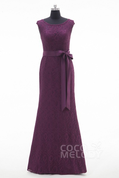 Fashion Bateau Floor Length Lace Dark Purple Sleeveless Mother Of The Bride Dress with Ribbons LOZF15048