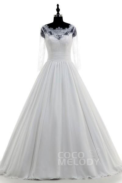 Fantastic Illusion Train Chiffon Ivory 3/4 Length Sleeve Wedding Dress LWXT14071