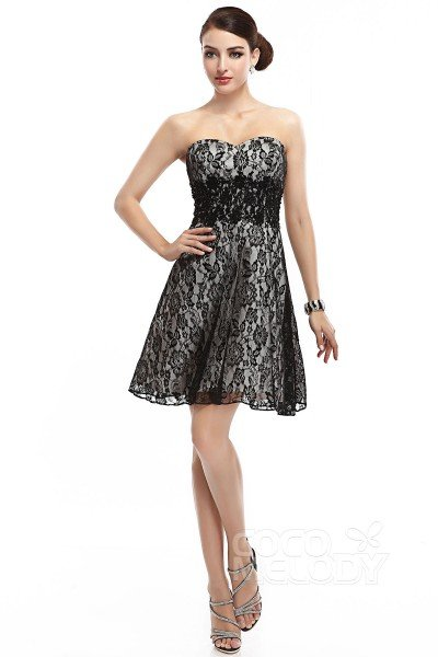 A-Line Sweetheart Short-Mini Lace Black Sleeveless Lace Up-Corset Little Black Dresses COLM14003