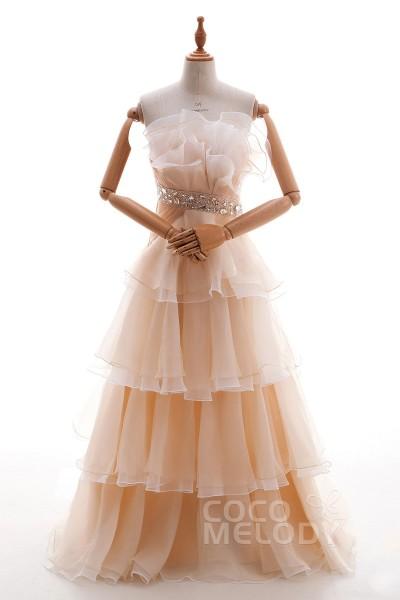Luxurious A Line Strapless Empire Floor Length Organza Linen Sleeveless Side Zipper Wedding Dress With