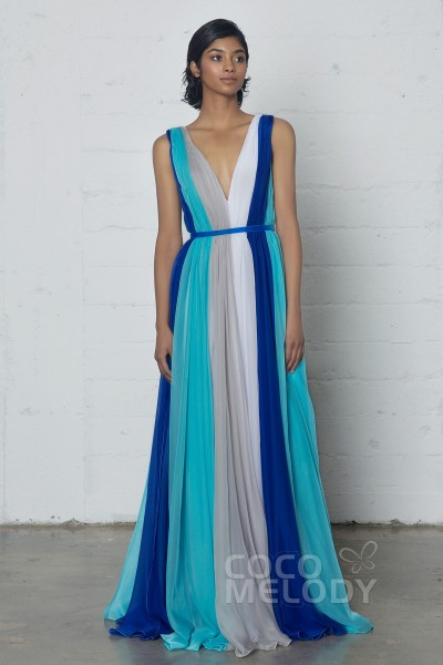 Fantastic Sheath-Column V-Neck Natural Floor Length Chiffon Sleeveless Zipper Dress with Pleating and Sashes PR17006