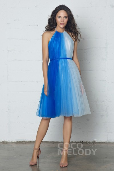 Fancy Sheath-Column Halter Natural Knee Length Tulle Sleeveless Zipper Dress with Pleating and Sashes PR17009