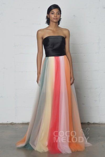 Divine Sheath-Column Strapless Natural Floor Length Tulle Sleeveless Zipper Dress with Pleating PR17011