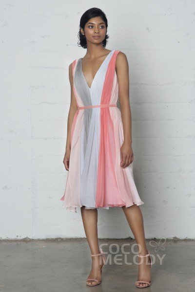 Impressive Sheath-Column V-Neck Natural Knee Length Chiffon Sleeveless Zipper Dress with Pleating and Sashes PR17036