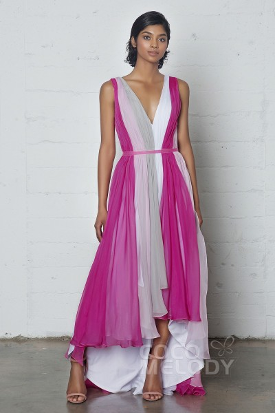 Chic Sheath-Column V-Neck Natural High-Low Chiffon Sleeveless Zipper Dress with Pleating and Sashes PR17037
