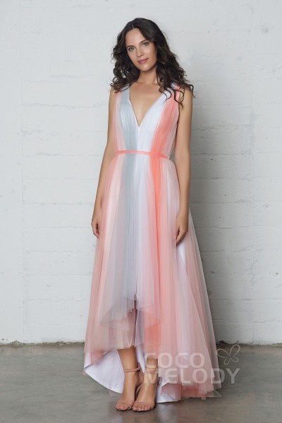 Graceful Sheath-Column V-Neck Natural High-Low Tulle Sleeveless Zipper Dress with Pleating and Sashes PR17038