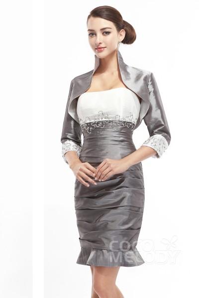 Hot Sale Sheath-Column Strapless Short-Mini Taffeta Mother Of The Bride Dress Jacket-Bolero COZM1400B