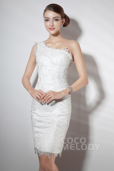 Fabulous Sheath-Column One Shoulder Knee Length Ivory Lace Party Dress COZM14019