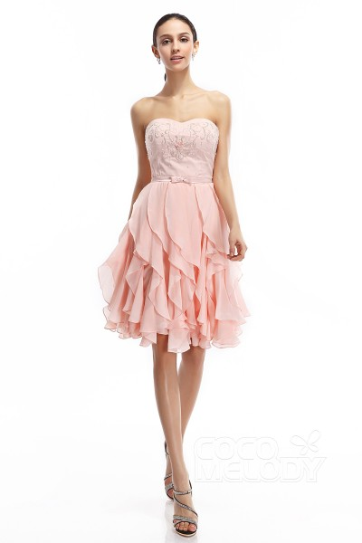 A-Line Sweetheart Short-Mini Chiffon Veiled Rose Sleeveless Zipper Graduation Dresses COZK14006