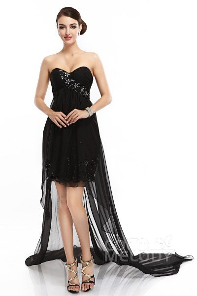 Sheath-Column Sweetheart High-Low Chiffon Black Sleeveless Zipper Little Black Dresses COZM1400D