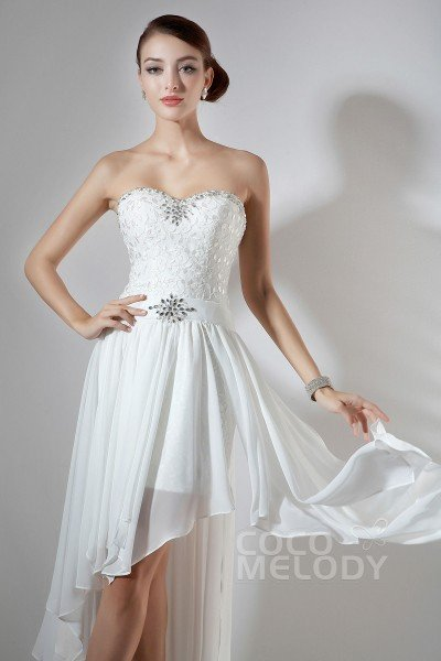 Hot Selling Asymmetrical Sweetheart Short-Mini Ivory Chiffon Prom Dress with Removable Skirt COLM1401A