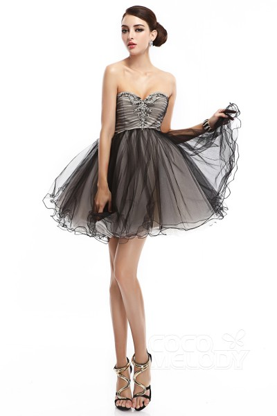 A-Line Sweetheart Short-Mini Tulle Sleeveless Lace Up-Corset Little Black Dresses COLM14010