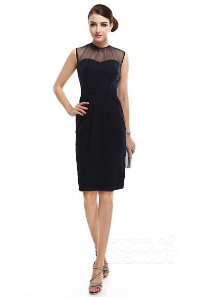 Sheath-Column Illusion Knee Length Chiffon Dark Navy Sleeveless Zipper Party Dresses COZK14007