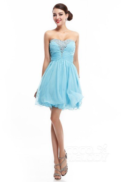 A-Line Sweetheart Short-Mini Chiffon Blue Glow Sleeveless Zipper Cocktail Dresses COZM14015