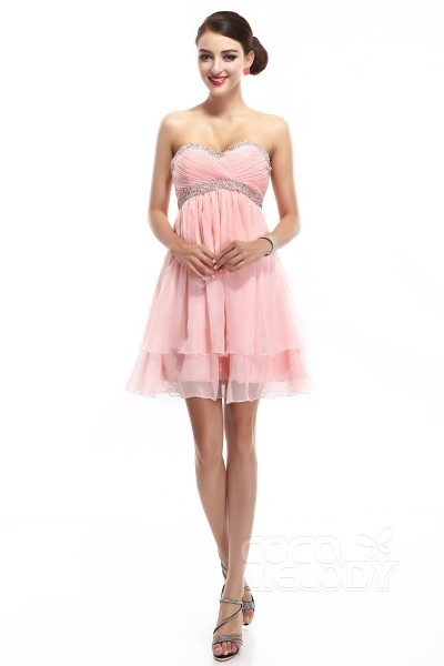 A-Line Sweetheart Empire Short-Mini Chiffon Primrose Pink Sleeveless Zipper Party Dresses COZM14016