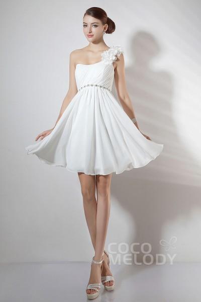 Casual A-Line One Shoulder Short-Mini Ivory Chiffon Party Dress COKM14005
