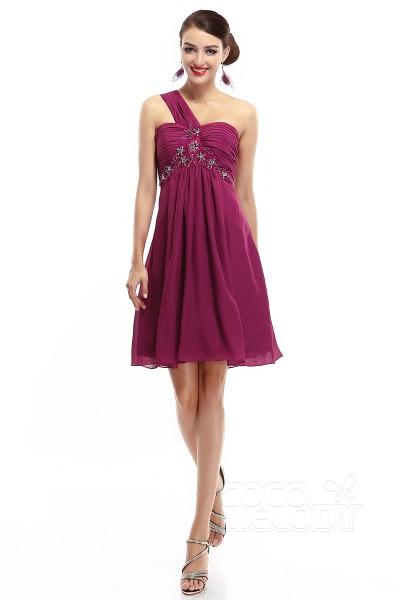 A-Line One Shoulder Empire Short-Mini Chiffon Dark Purple Sleeveless Zipper Party Dresses COZM14018