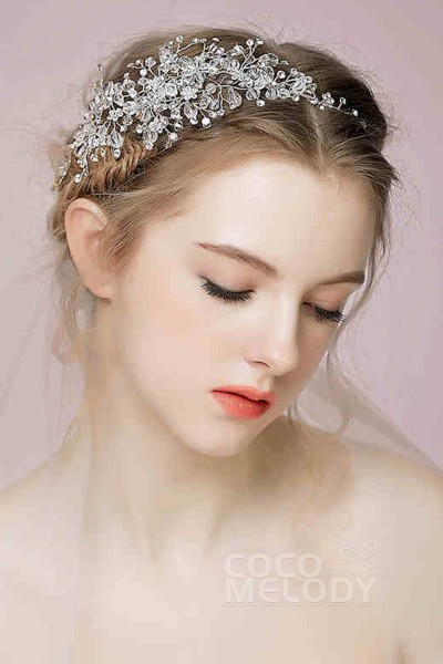 Charming White Alloy Wedding Headpiece with Rhinestone and Crystal SAH160001